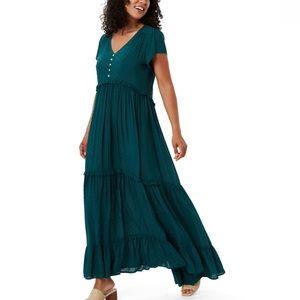 Green Textured Boho Maxi Dress Size 12 New